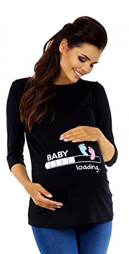 Zeta Ville - Damen Umstands-Oberteil Top T-Shirt Witzige Baby Loading Druck 549c, Schwarz, EU 38/40