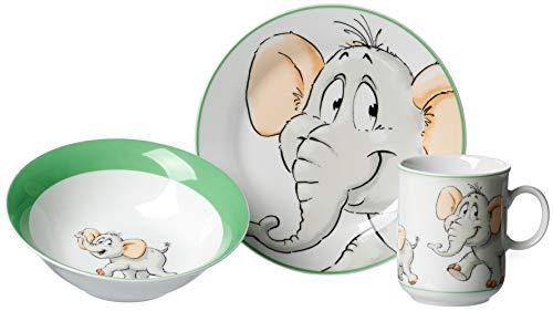 Ritzenhoff & Breker Kindergeschirr Set Elefant, 3-teilig, Porzellan