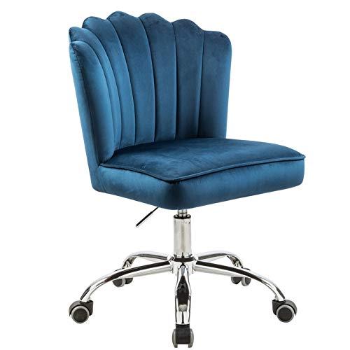 Sedia da ufficio girevole ergonomica regolabile in altezza, girevole a 360° (blu)