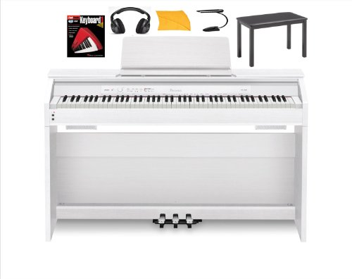 Hot Sale Casio Px850 White Digital Piano Bundle with Casio Cb7bk Furniture Style Bench, Standard Headphones, Hal Leonard Instructional Book, Polishing Cloth & Mighty Bright Music Stand Light