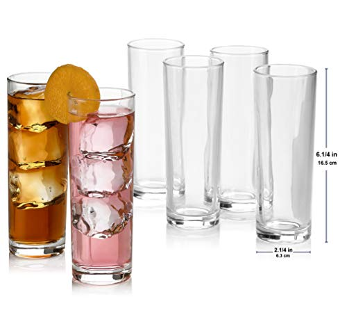 Set of 8 Highball Glasses, Cocktail Highball Glasses, Tall Drinking Glasses for Water, Juice, Cocktails, Beer and More, Elegant Bar Glasses, Italian Highball Glasses, 10 oz Highball Glasses