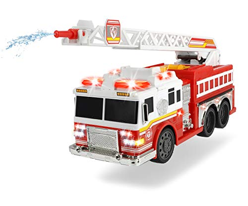Dickie Toys Fire Commander, brandweerauto, brandweertruck, met waterspatfunctie, ladder, licht & geluid, incl. batterijen, 36 cm, vanaf 3 jaar