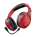 Auriculares inalámbricos de Juego, Auriculares de Juego de Sonido Envolvente con micrófono de cancelación de Ruido Bluetooth Auriculares Plegables (Color : Red)