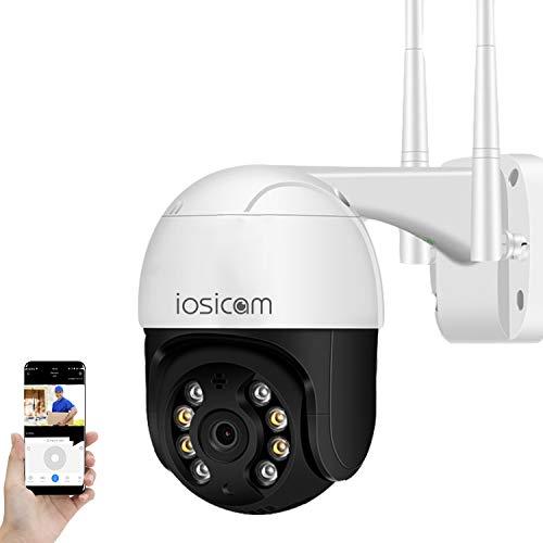 IOSICAM Cámara de vigilancia exterior 1080P WiFi IP para casa/puerta/patio/garaje/jardín, giro e inclinación, audio bidireccional, detección movimiento PIR, visión nocturna, resistencia al agu
