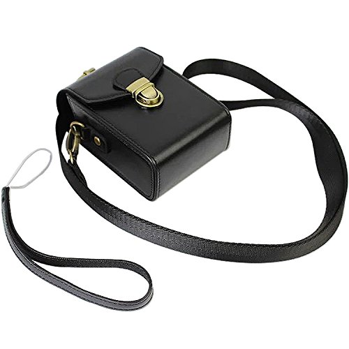 First2savvv schwarz Premium PU Leder Kameratasche für Nikon COOLPIX A A900 S9900 P6000 Canon PowerShot SX710 HS Panasonic LUMIX DMC-TZ80 TZ100 ZS100 caiso EX-10