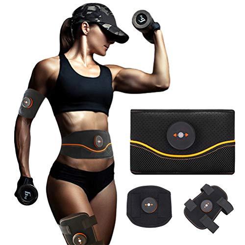 Auplew EMSBauchmuskel Training Belt Set Bauchmuskel Gürtel zur Muskelstimulation EMS Bauchtraining Stimulationsgerät (1Gürtel + 1Oberschenkel + 1Kalb + 3Host)