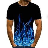 LKFTH Impresión Colorida Camiseta 3D Casual Summer Style Fashion Print Camisetas de Manga Corta Hombres Tops Color Personalidad L Blue Flame