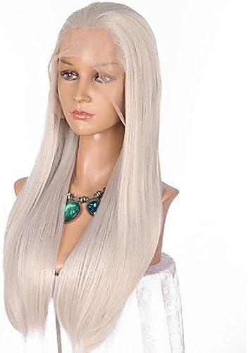 Femme synthétique Lace Front Perruque longue ligne droite gris naturel Hairline Cosplay Perruque naturelle Perruques Costume Perruque