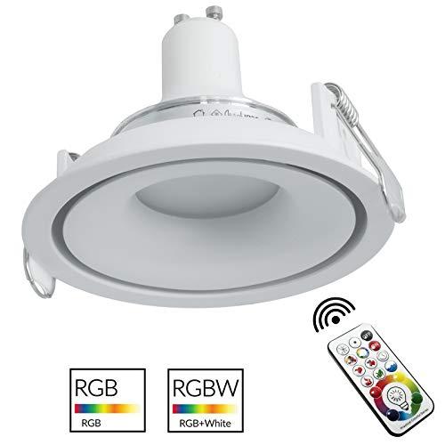 Foco moderno blanco empotrado redondo 9 cm LED GU10 RGB 6000 K luz multicolor RGB