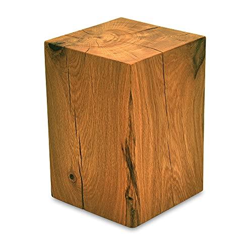 MS FACTORY Bloc de Chêne Massif - Cube en Bois - Rondin de Bois - Bout de Canapé, Colonne de Decoration, Support en Bois, Table Basse Bois, Piédestal pour Fleurs, Table de Chevet - 15 x 15 x 20 cm