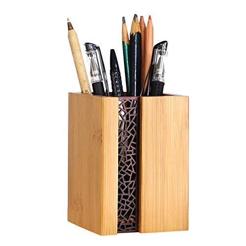 YOSCO 木製 ペン立て ペンスタンド 卓上収納 オフィス収納 天然木 黒クルミ シンプル 天然木 木目デザイン (長方形)
