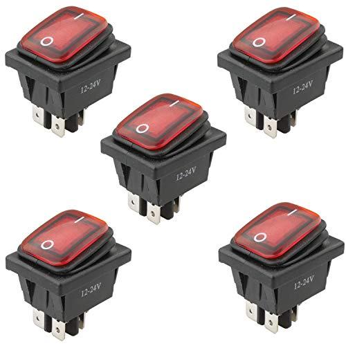 VISSQH 5 Pcs 4-Broches 2-Positions Interrupteur à bascule.12V 24V 20A Interrupteur à Bascule Étanche avec Indicateur LED,ON-OFF DPST,pour Voiture Camion Moto Bateau Marine(Rouge)