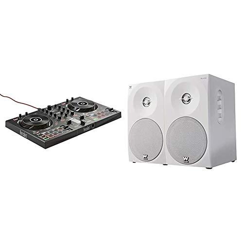 Hercules DJControl Inpulse 300 –Controlador DJ USB–2Pistas con 16Pads y Tarjeta de Sonido + Woxter Dynamic Line 410 – Altavoces estéreo 2.0 Autoamplificados con 150W de potencia