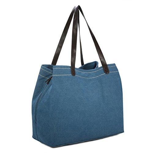 Damen Canvas Schultertasche, Gracosy Vintage Handtasche Umhängetasche Shopper Tasche Leinentasche Totes Hobo Bag für Arbeit Schule Reise Blau