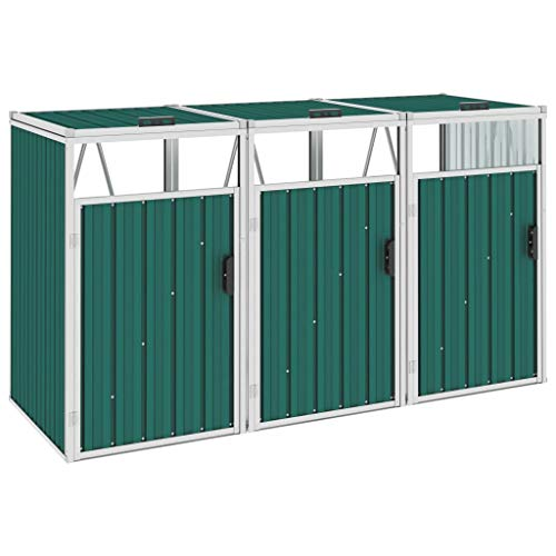 vidaXL Triple Garbage Bin Shed Outdoor Garden Tidy Sturdy Durable Stable Secure Easy to Maintain Waste Bin Hider Dustin Box Green 213x81x121cm Steel