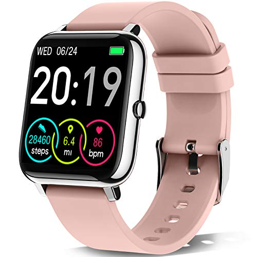 Motast Smartwatch Donna Orologio Fitness Smart Watch Contapassi 1,4 Pollici Cardiofrequenzimetro Smartband Sportivo Activity Tracker Cronometro, Notifiche Messaggi, Controller Fotocamera Musicale-Rosa