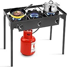Goplus Outdoor Stove Portable Propane Gas Cooker Iron Cast Patio Burner w/Detachable Legs for Camp Cooking (3-Burner 225,000-BTU)