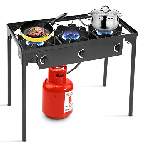 Goplus Outdoor Stove Portable Propane Gas Cooker Iron Cast Patio Burner w/Detachable Legs for Camp Cooking (3-Burner 225,000-BTU) Grills Propane