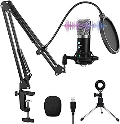 USB Microphone, VANBAR Condenser Microphone Kit with Boom Arm, Shock Mount, Pop Filter for Podcast, Game, YouTube Video, Stream, Recording Music, Voice-Over (Silver)