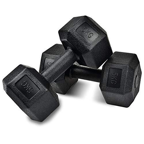 XINGLIAN-Kurzhantel Dumbells Set Hexagonal Gummierter Dumbells for Männer Dumbells Arm Brustmuskeltraining Eignungdumbbells Frauen Männer Universal-Einzelgewichte 2,5 Kg / 5kg (Color : 5kgx2)