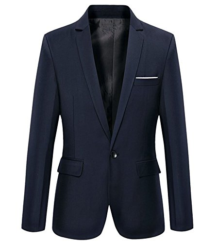 Mens Slim Fit Casual One Button Blazer Jacket (302 Navy, S)