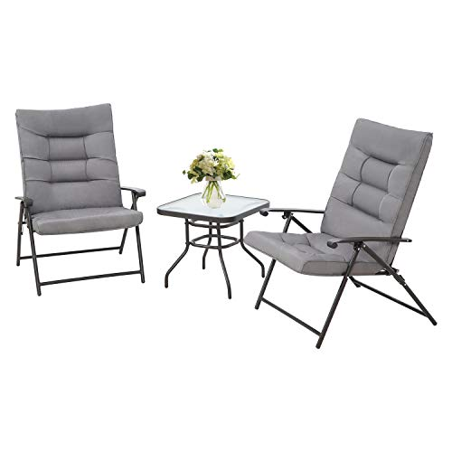 Patiomore 3 Piece Outdoor Padded Patio Folding Chair Furniture Set Adjustable with Glass Coffee Table Black Metal Chair (Grey Cushion)