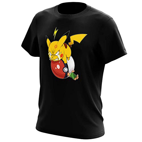 Okiwoki T-Shirt Noir Pokémon parodique Pikachu et Sasha : Grrrr, Vengeance !!!! : (Parodie Pokémon)