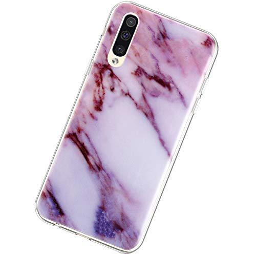 Coque Compatible avec Samsung Galaxy A50,Étui Marbre Motif Ultra Mince Souple Transparent TPU Silicone Housse Flexible Crystal Case Antichoc Scratch Anti-Rayures Téléphone Protection Bumper,Violet
