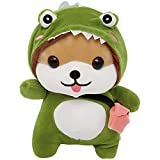 10in Shiba Inu Dog Dinosaur Plushie Stuffed Animal Dress Up Toy, Funny Corgi Chai Plush Pillow for Kids,Shiba Inu Stuffed Animals Gift for Halloween Christmas,with Suction Cups and Can Be Hanged