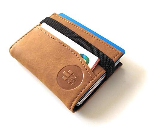 Cartera pequeña y Original con Seguridad RFID. Tarjetero Billetero Minimalista para Hombre y Mujer con Capacidad para 12 Tarjetas y Billetes. GOANSEE (Camel)