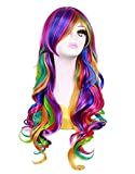 Flonding 28' Multi-Color Lolita Harajuku Cosplay Wig Long Wavy Curly Ombre Colorful Rainbow Synthetic Hair Wigs with Bangs for Women Girls halloween Party Costume Daily Use (Rainbow)