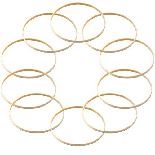 JAOMON 10Pezzi Anelli in Legno a Cerchio Rotondi di Bambù per Acchiappasogni anelli per acchiappasogni in legno, Fai-da-te, Decorazioni per Ghirlande di Nozze, Compleanno,15cm