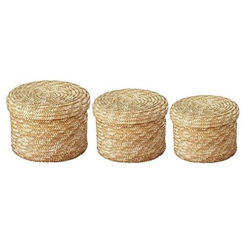 ZWWZ 3 unids/Set Hecho a Mano Straw Woven Cesta de Almacenamiento con Tapa Bnack Organizer Caja de Almacenamiento Cestas de lavandería Cestas de Rattan Almacenamiento Flower Baske MISU