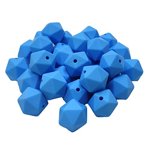 Great Price! 50pcs Cornflower Blue Color 17mm Silicone Icosahedron Beads Teething Pearl Beads Silico...