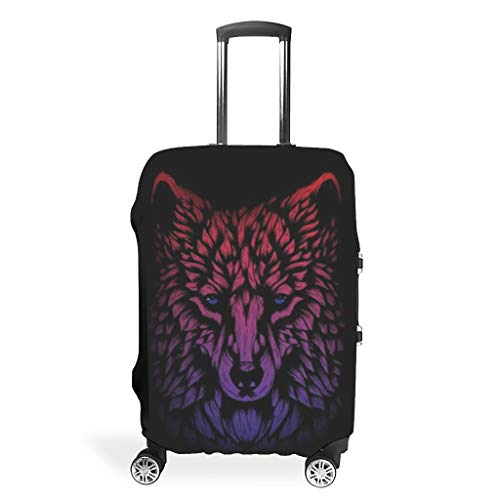 Wolf Animal Suitcase Cover Reusable Anti-Scratch Fits 18-32 Inch for Wheeled Suitcase Over Softsided White 26-28in