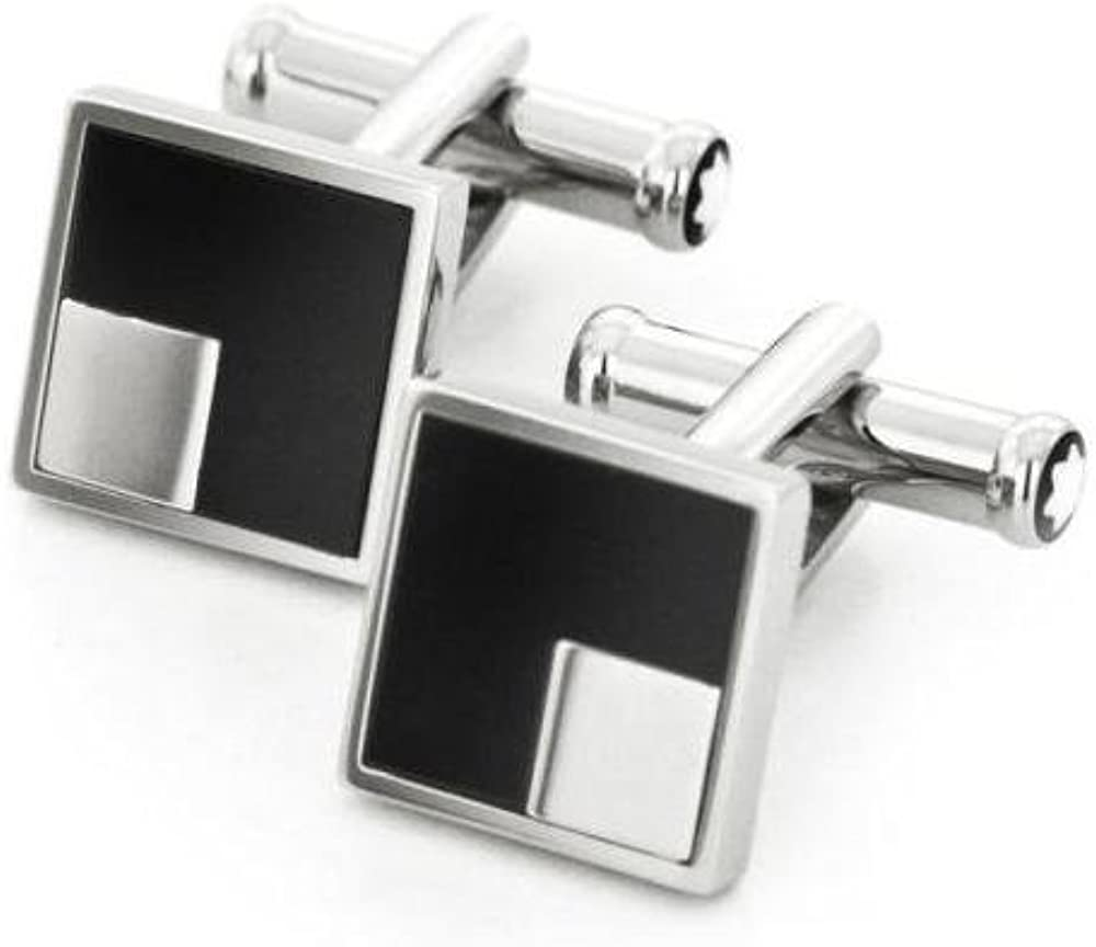 Mont Blanc Iconic Lines Black Onyx and Stainless Steel Square Cufflinks