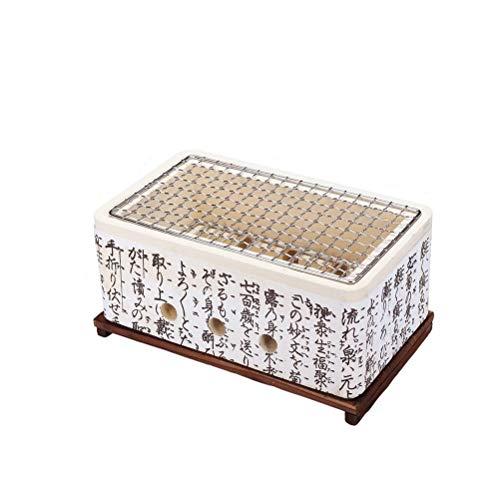 Hbao Griglia per Barbecue Giapponese Barbecue Portatile Stufa in Ceramica Stufa a Carbone Alimentare Giapponese con Supporto Isolante ermetico in Legno massello