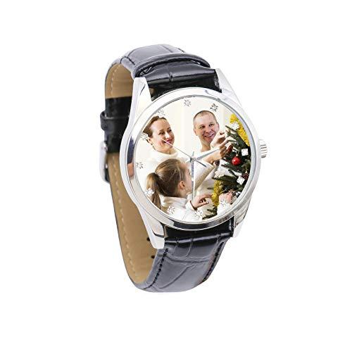 Reloj de Imagen Personalizado Reloj de Fotos Reloj de Hombre con Incrustaciones de Diamantes de imitación Reloj de Cuero(Negro a Todo Color Hombres-26cm)