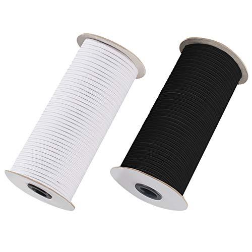 2 Rollos de Correas Elasticas, Cordón Elástico para Faldas y Pantalones Cintura, para las Ropas y Hecho de Mano, de Color Negro y Blanco,110 metros cada uno, Alambre de Látes