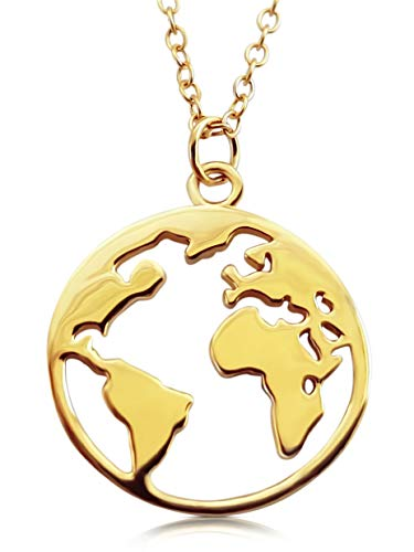 VIASOUL® Halskette Weltkugel I Weltkarte Für Damen aus 925er Silber I Mit 585er Gold überzogen I Die Original Welt Kette (Gold)