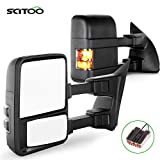 SCITOO Towing Mirrors fit for Ford Mirrors fit 2003-2007 for Ford for F250 for F350 for F450 for F550 Super Duty with Amber Turn Signal Heated Manual Controlling Telescoping and Folding Features