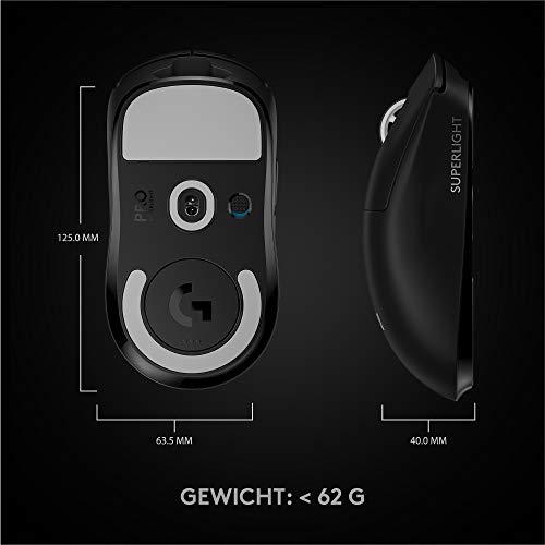 Logitech G PRO X SUPERLIGHT kabellose Gaming-Maus mit HERO 25K Sensor, Ultra-leicht mit 63g, 5 programmierbare Tasten, 70 Stunden Akkulaufzeit, Zero Additive PTFE Feet, Schwarz, PC/Mac - EU Verpackung