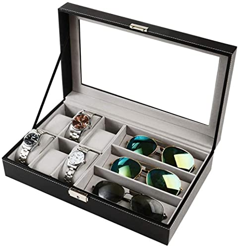 Caja de piel para guardar relojes y joyas, organizador para 6 relojes
