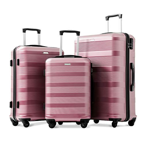 Set of 3 Super Lightweight ABS Hard Shell Travel Spinner 3 Pieces Luggage Combination Number Lock Suitcases with 4 Wheels-20/24/28 (Rose Gold)