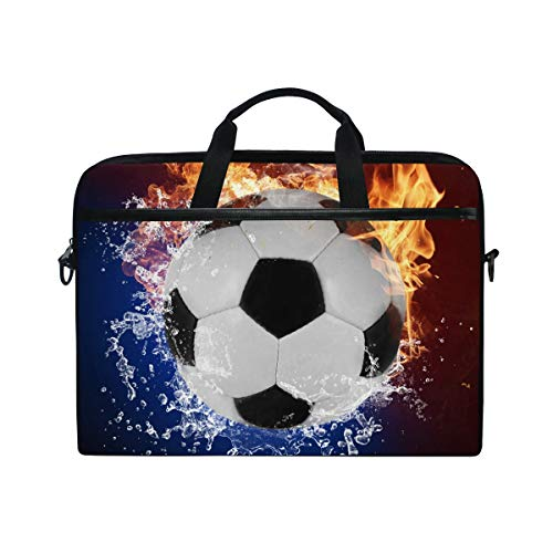 JOYPRINT Laptop Sleeve Case, Soccer Ball in Fire Water 14-14.5 inch Briefcase Messenger Notebook Computer Bag with Shoulder Strap Handle for Men Women Boy Girls