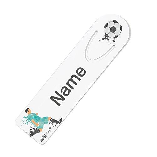 Striefchen® Lesezeichen mit Namen - Motiv: Fußballer - für den Schulstart