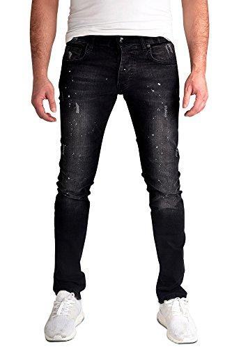 zakus Herren Slim Fit Jeans Hose Straight Leg gerades Bein Denim Jeanshose Skinny Schwarz_FKZ-614 W30 L34