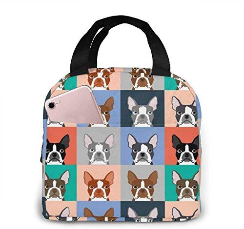 Bolsa de almuerzo de dibujos animados de perro Boston Terrier para mujeres,niñas,niños,bolsa de picnic aislada,bolsa gourmet,bolsa cálida para el trabajo escolar,oficina,camping,viajes,pesca