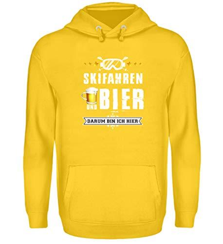 Skifahrer T-Shirt Hoodie Ski & Bier für Winterurlaub - Unisex Kapuzenpullover Hoodie -S-Sonnengelb