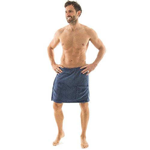 Toalla para sauna Celinatex para hombre con diseño de forro polar, con cierre de velcro, una bolsa, más fácil de falda escocesa, Málaga, confortable, suave, muy cómodo de usar y cómodo de llevar de toalla, poliéster, azul, large/extra-large